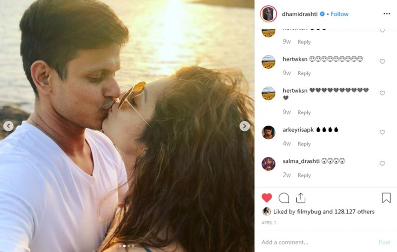 Drashti Dhami kisses her husband. (Photo: Instagram)
