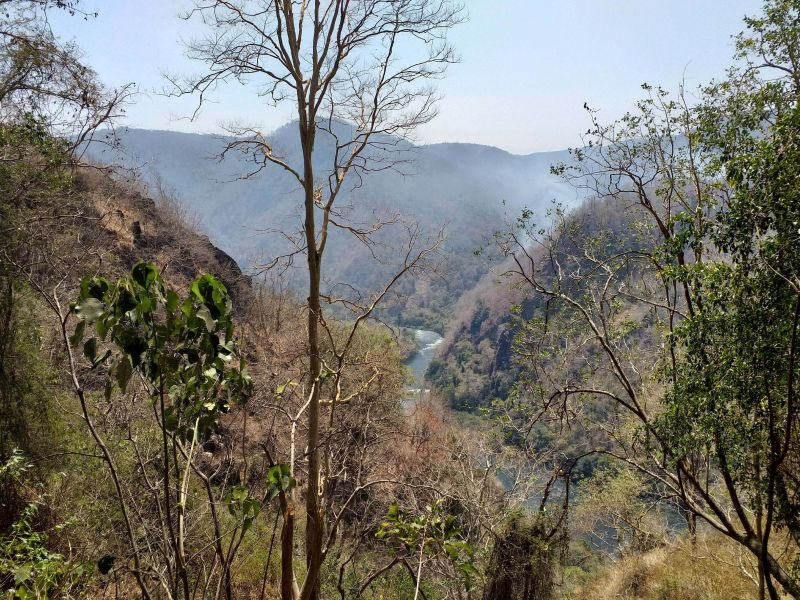 A picturesque view of the Western Ghats and Kali river adjacent to the caves.
