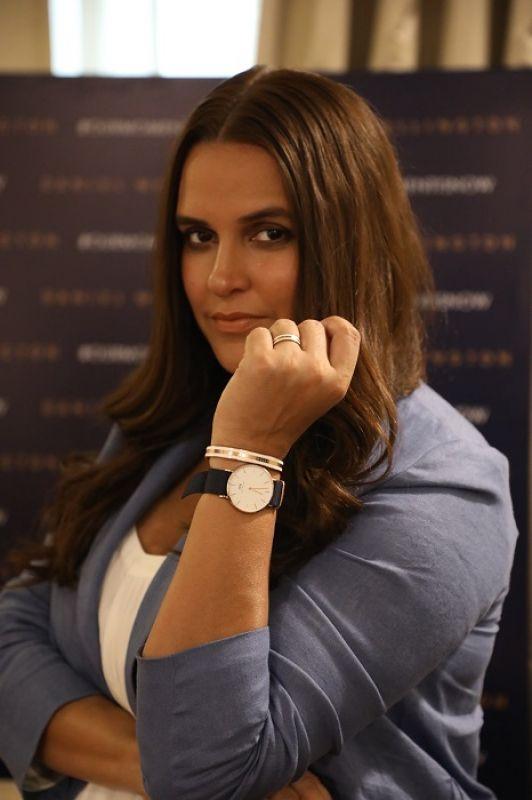 Neha Dhupia showcasing the Daniel Wellington watch