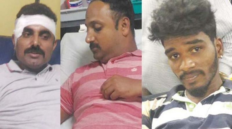 From left: Inspector Manjunath, SI Ravi and the accused, Karthik
