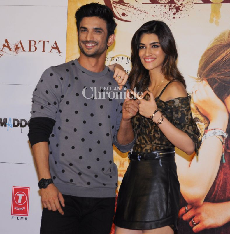 Sushant and Kriti display lovely chemistry at the trailer launch of Raabta