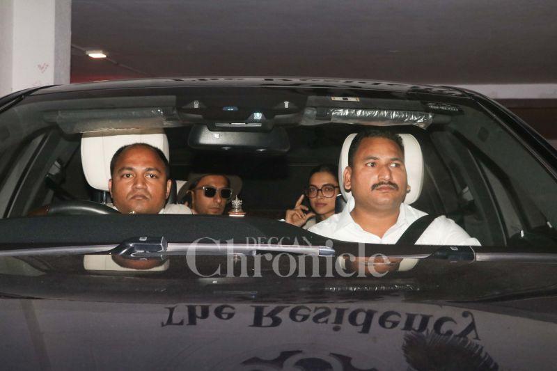 Ranveer Singh and Deepika Padukone spotted outside Karan Johar's office.