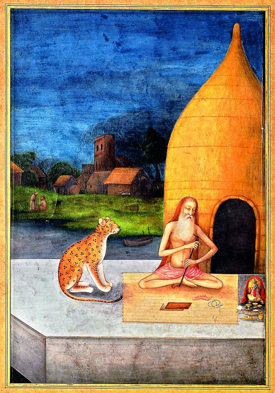 Seated beside a leopard in front of a hut, worships Krishna, dated 1640-50.