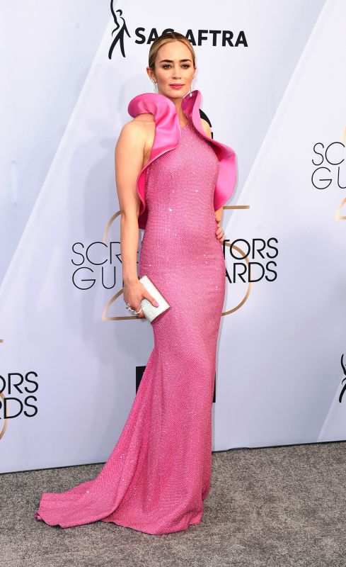 Emily Blunt stole the show in a striking peony-pink ruffle gown that set social media ablaze.