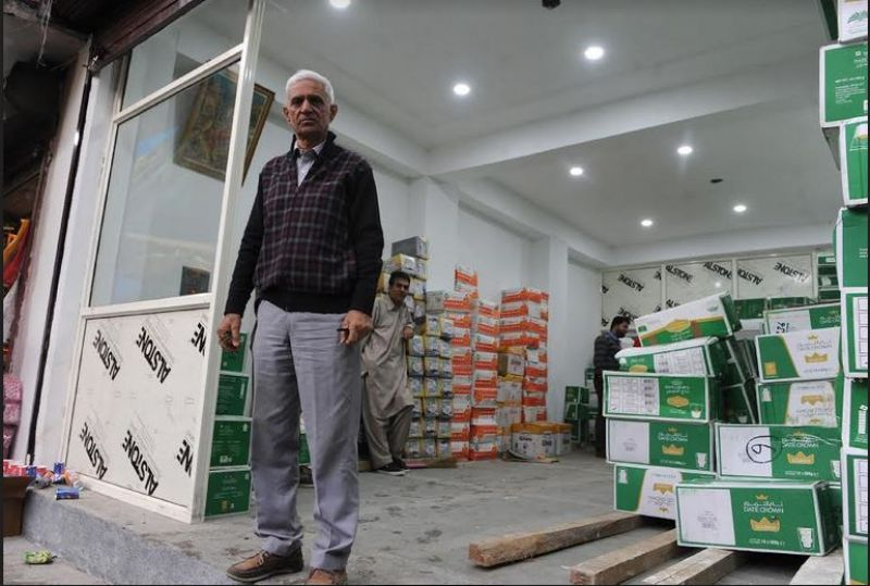 Roshan Lal Mawa at his renovated store in Srinagar's  labyrinth marketplace Gadd'a Kocha. (Photo: HU)