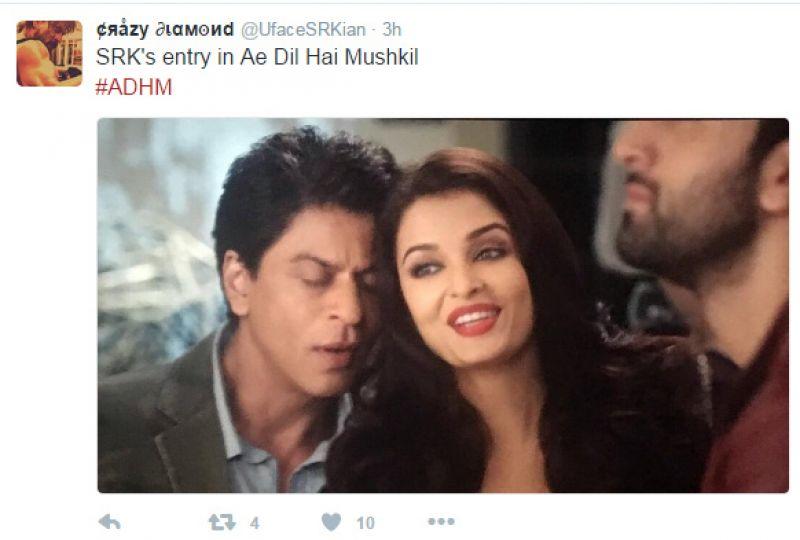 shah rukh khan scene in ae dil hai mushkil