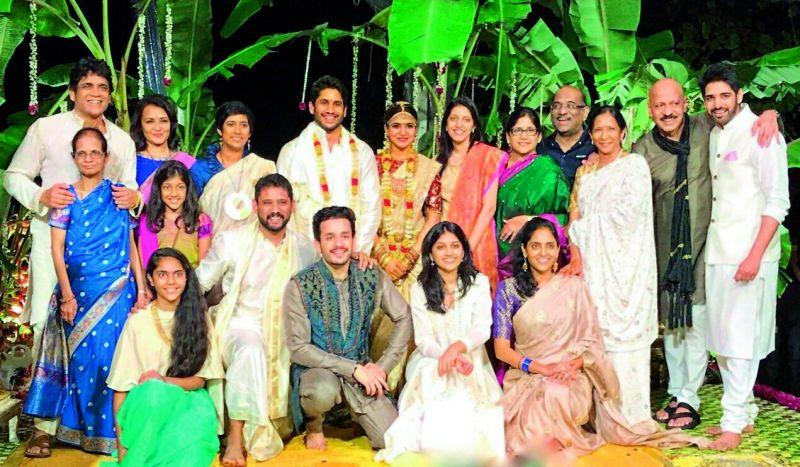 The Akkineni family — children and grand children of late Akkineni Nageswara Rao — with the bride and groom Samantha and Naga Chaitanya.
