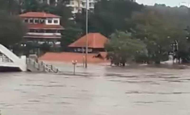 The Shiva temple in Kerala's Aluva district was almost under water following heavy rainfall on Thursday. (Photo: DC)