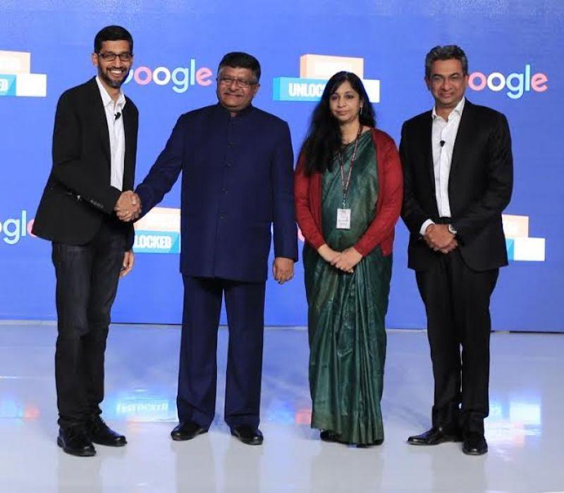 At an event in Delhi, Sundar Pichai, CEO – Google announces initiatives to digitally empower small and Medium Businesses in India. From left to right: Sundar Pichai, CEO – Google; Honorable IT Minister, Shri Ravi Shankar Prasad; Aruna Sundararajan, Secretary, Ministry of Electronics & IT; Rajan Anandan, Vice President, South East Asia and India, Google