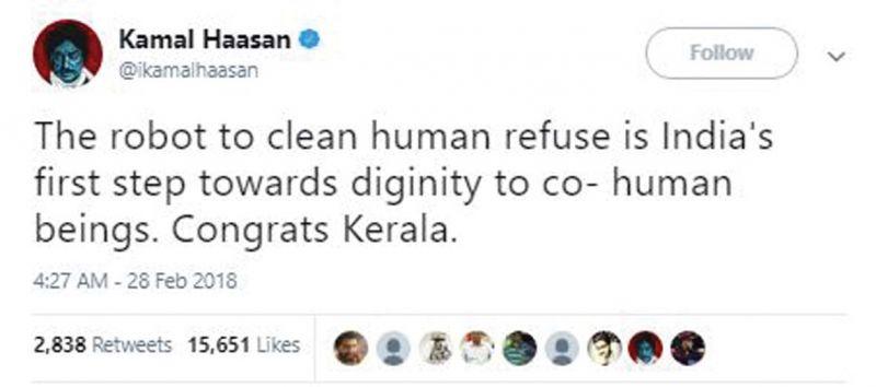 Screenshot of Kamal Haasan's tweet.