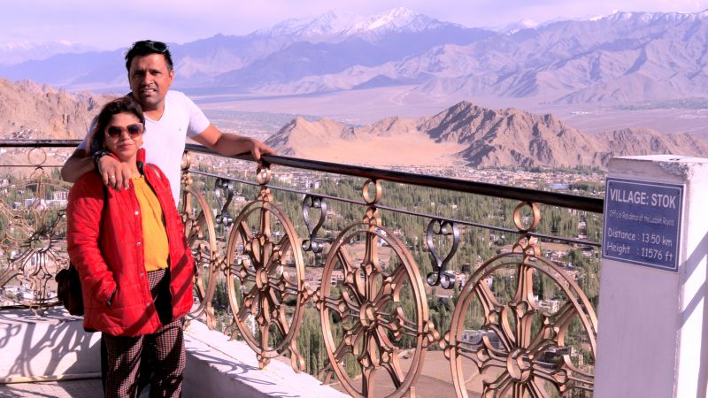 Travel writers Amit and Mousumi Sengupta at Shanti Stupa, Leh