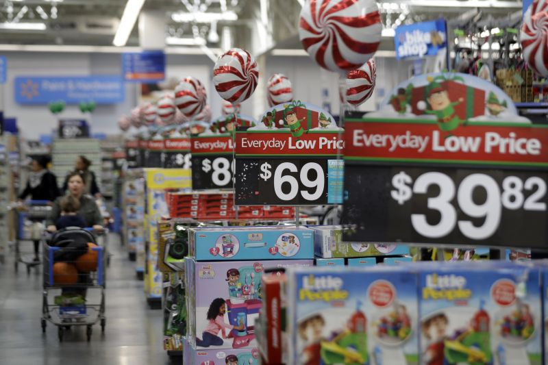 Photo, shows prices in the toy section at Walmart in Teterboro, N.J. An escalating trade war with China could mean higher prices on a broad array of products from toys to clothing. But some retailers will feel more pain than others, further deepening the divide between the winners and the losers that was evident in the latest earnings reports. Analysts say big box giants like Walmart and Target, which have had strong performances, are best positioned to absorb the higher costs because of their clout with suppliers. (AP Photo/Julio Cortez, File)