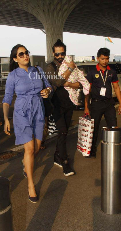 Shahid, Mira with their daughter Misha