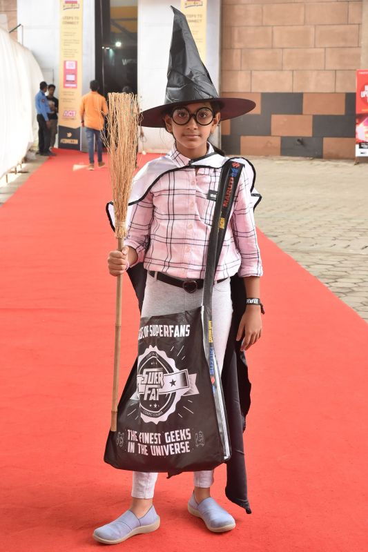 Ayushi, a superfan at the event, dressed as Harry Potter