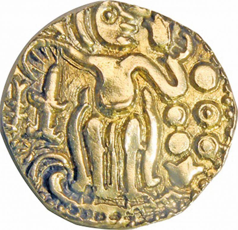 Golden Kahavanu  coin  during the reign of Raja Raja I Chola.