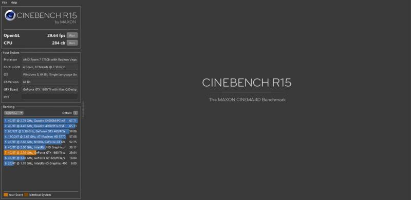 ROG Zephyrus G Cinebench