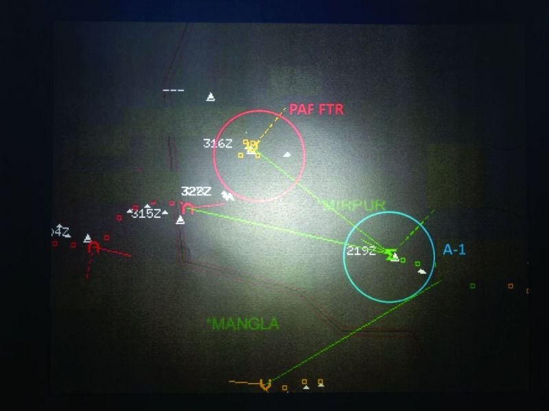 Radar picture shows Pakistan's F16 has vanished and MiG21 Bison still can be seen on the radar.