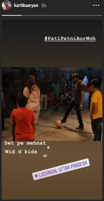 Kartik Aaryan on the sets of Pati Patni Aur Woh. (Photo: Instagram)