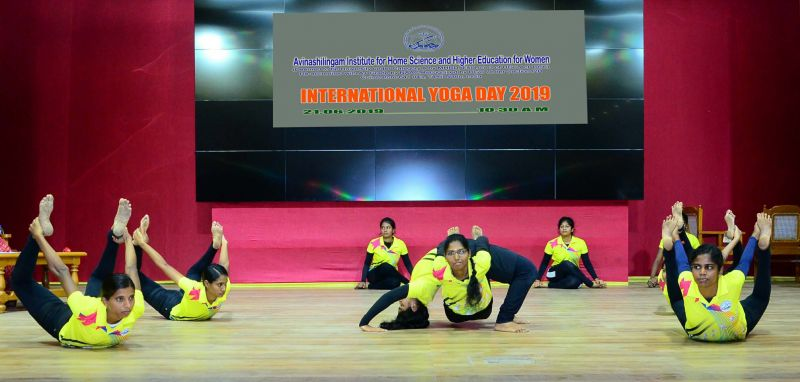 Students of Avinashilingam institute for home science, Coimbatore do yoga. (Photo: DC)