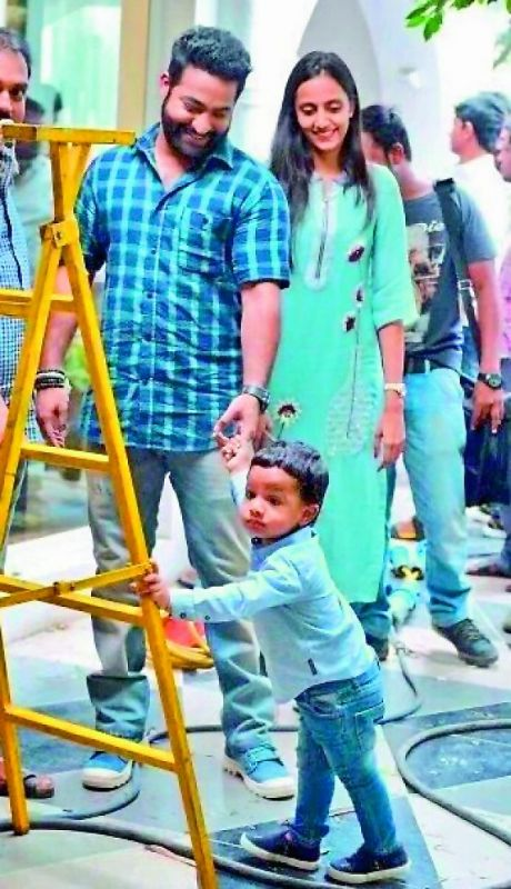 NTR and Pranathi on the film sets