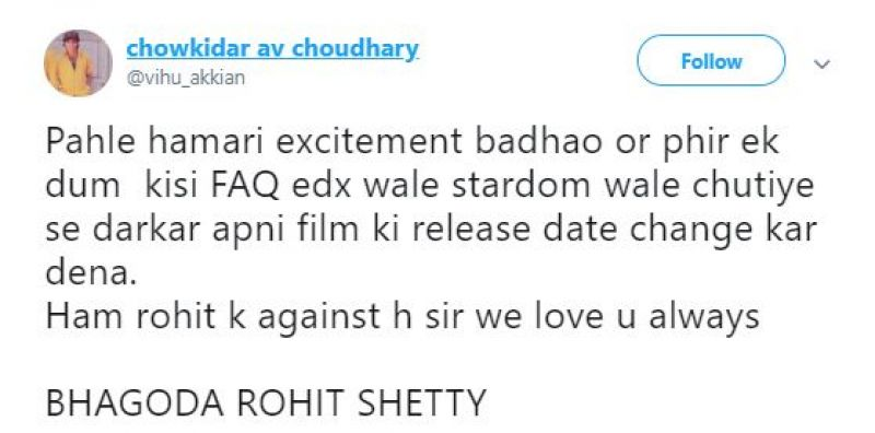 Tweet against Rohit Shetty. (Photo: ANI)
