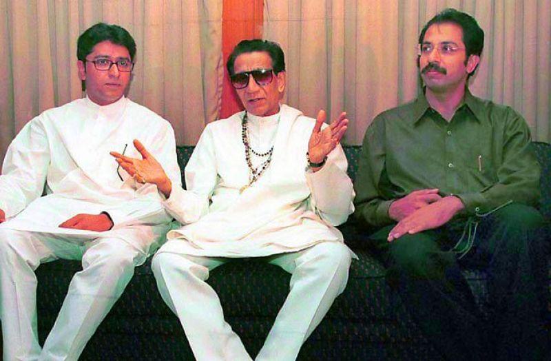 the son-nephew inheritors: Shiv Sena's Raj Thackeray, Bal Thackeray and Uddhav Thackeray.