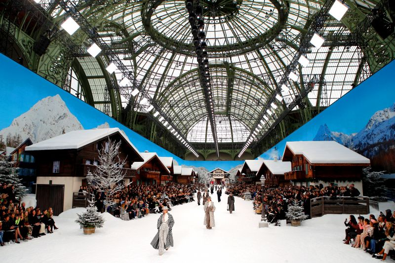 Chanel turned the Grand Palais into an Alpine wonderland for the show. (Photo: AP)