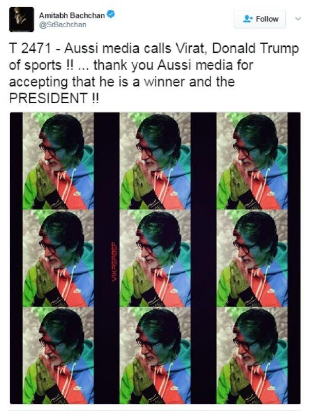 Amitabh Bachchan, Virat Kohli, Donald Trump, India vs Australia