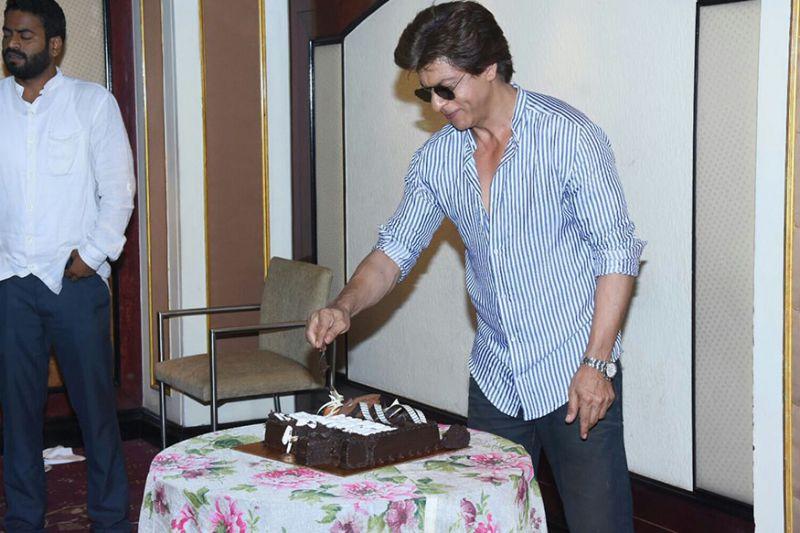 SRK during his birthday celebration with media at Taj Lands End in Bandra, Mumbai.