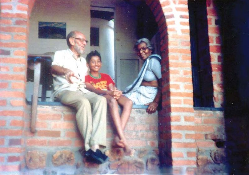 Vineet with his grandparents
