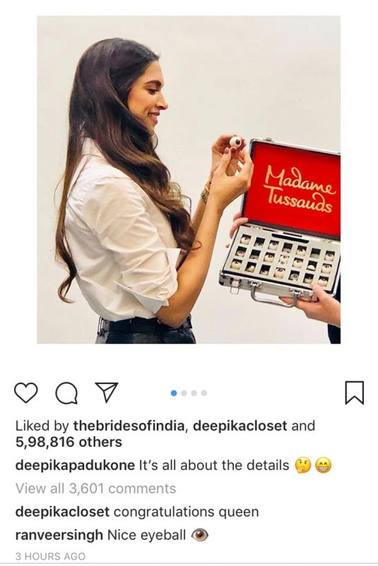 Ranveer Singh leaves a comment on Deepika Padukone's Madame Tussauds photo.