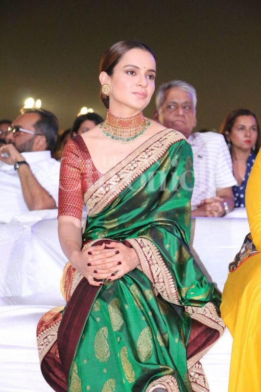 Kangana Ranaut, often spotted from the sets of 'Manikarnika: The Queen Of Jhansi', wore a traditional saree to the event.