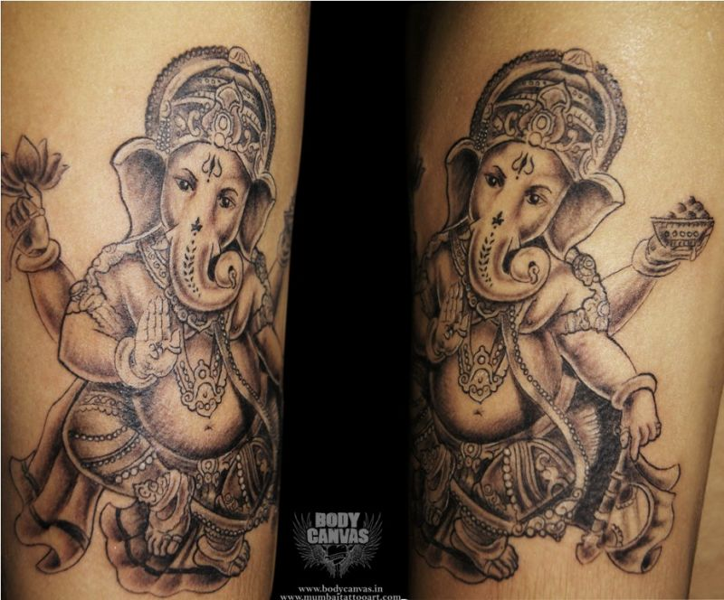 Ganesh etched on the skin.