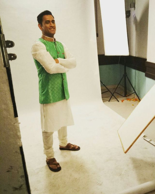 Mahendra Singh Dhoni during the shoot in an Indian attire.