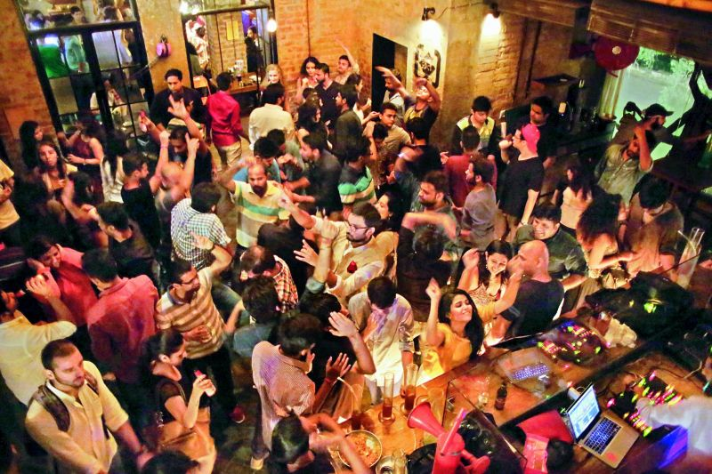Hyderabadis partying the night away at a city pub