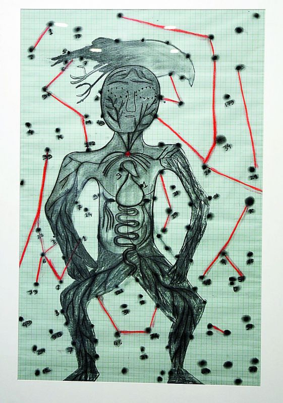 Line it right: Artist's Impressionistic drawing of a human with lines.