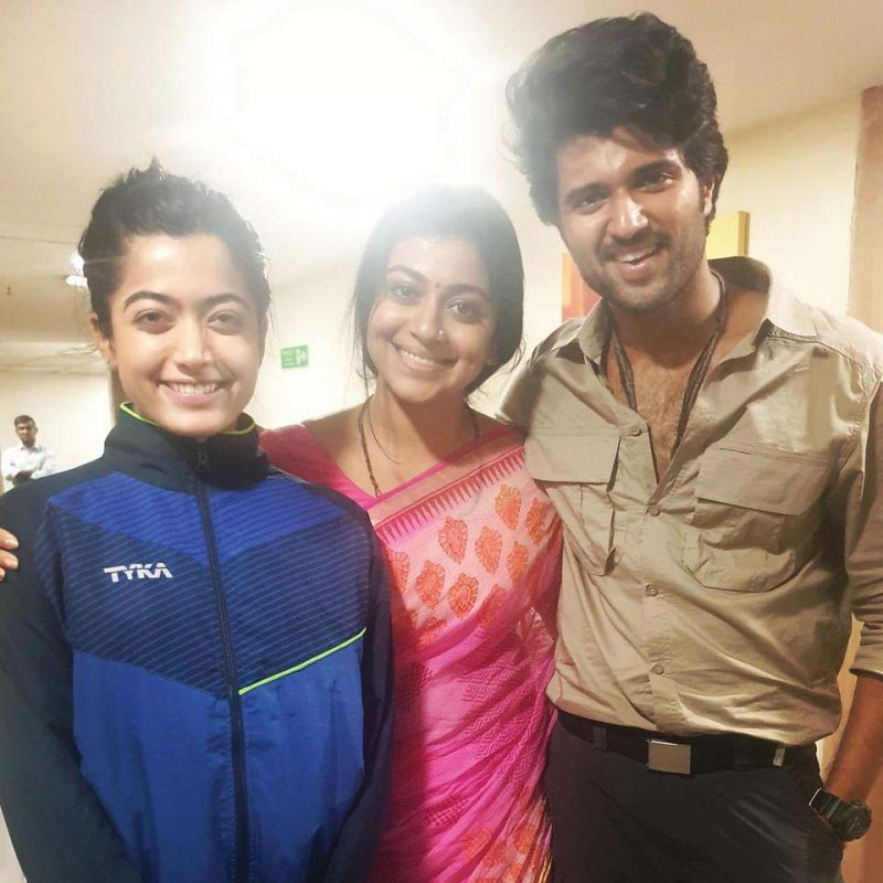 Rashmika, Shruti and Vijay on the sets of Dear Comrade