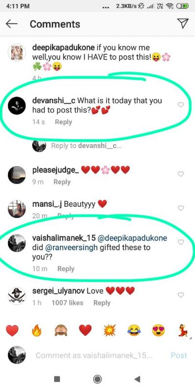 Comments on Deepika Padukone's Instagram post. (Photo: Instagram)