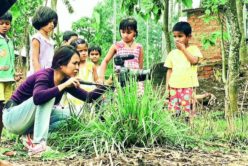 Rima Das during the shoot of Village Rockstars.