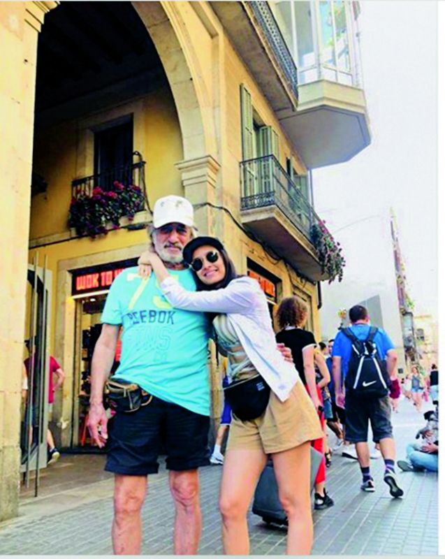 Shraddha Kapoor with dad Shakti Kapoor in Spain.