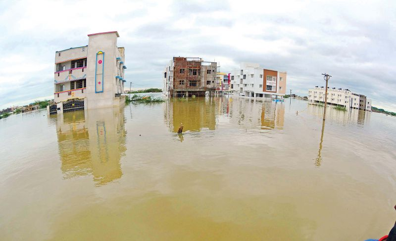 Water-logged houses at Mudichur during 2015-December floods.