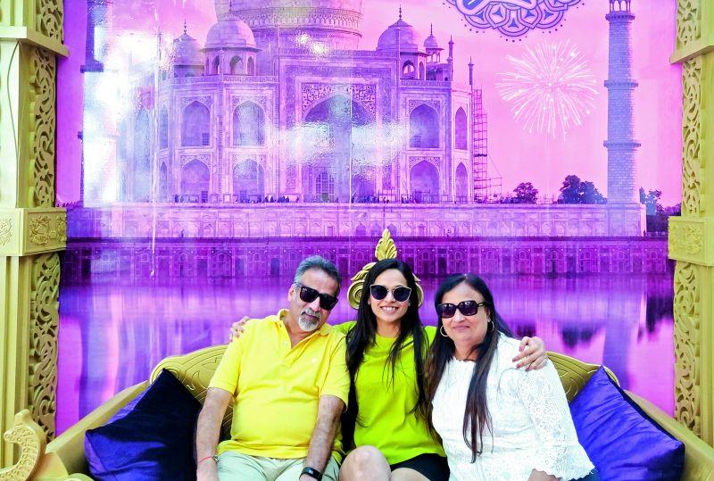 Sanam Shah with her parents.