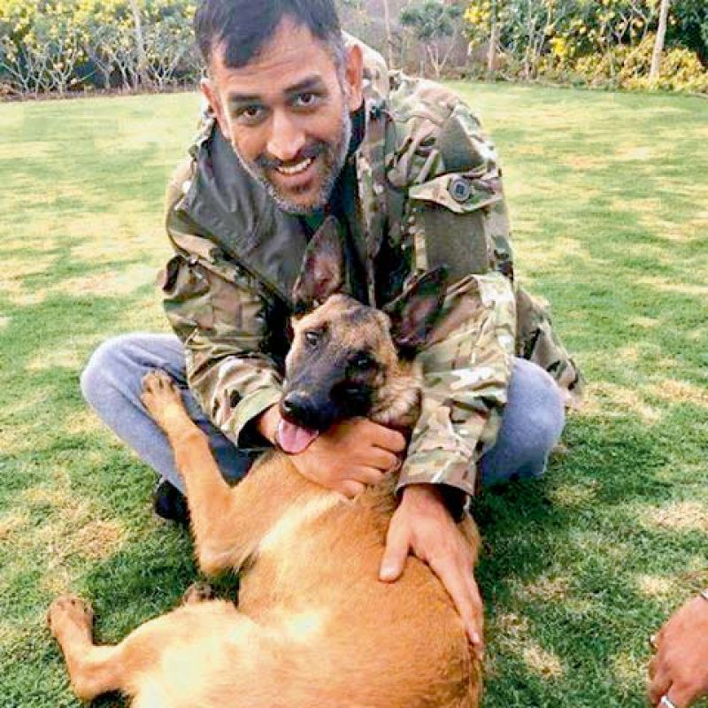 M.S. Dhoni often shares photos with his dog Sam.