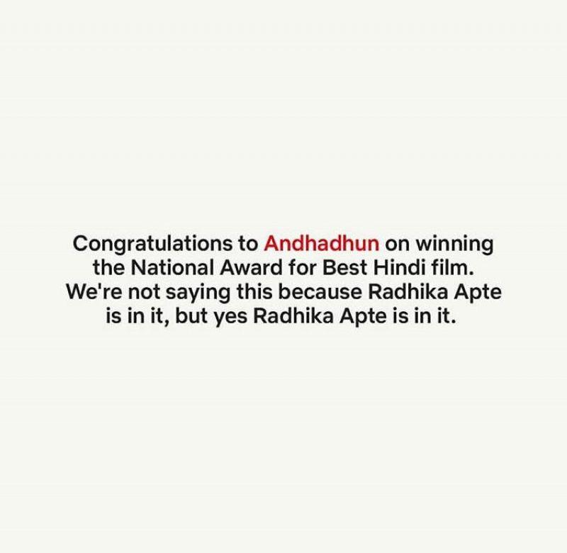 Netflix tweet on Radhika Apte.