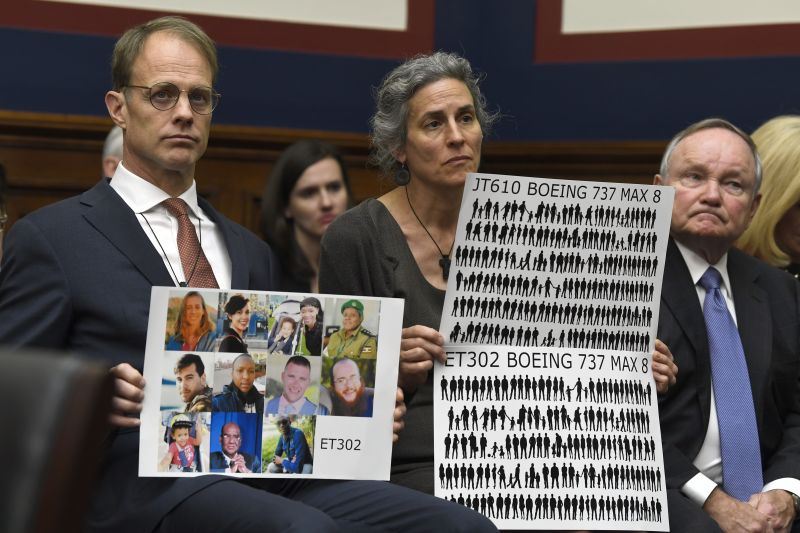 Michael Stumo, left, and Nadia Milleron, center, parents of Samya Stumo, 24, a Massachusetts resident who died in the Ethiopian plane crash, listen during a House Transportation Committee hearing on Capitol Hill in Washington, Wednesday, May 15, 2019, on the status of the Boeing 737 MAX aircraft. (AP Photo/Susan Walsh)