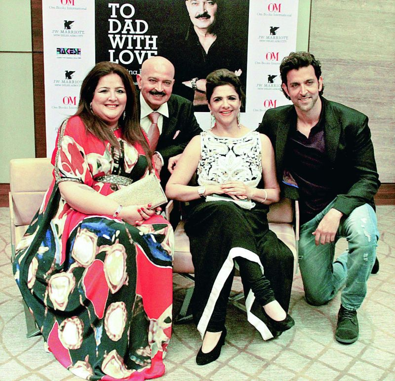 Hrithik Roshan is very close to his sister Sunayana. (Left to right) Sunayana, Rakesh Roshan, Pinky Roshan and Hrithik.