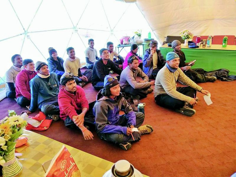 Participants at the Mount Everest Base Camp