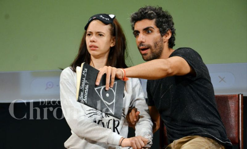 Kalki Koechlin and Jim Sarbh during a play.