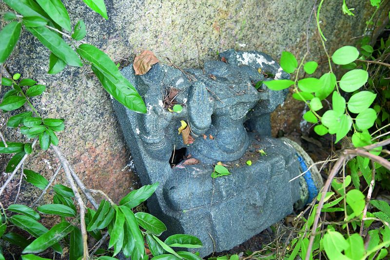 Witness to  vandalism: The mutilated bust of goddess Lakshmi lies in the temple premises. (Photo: DC)