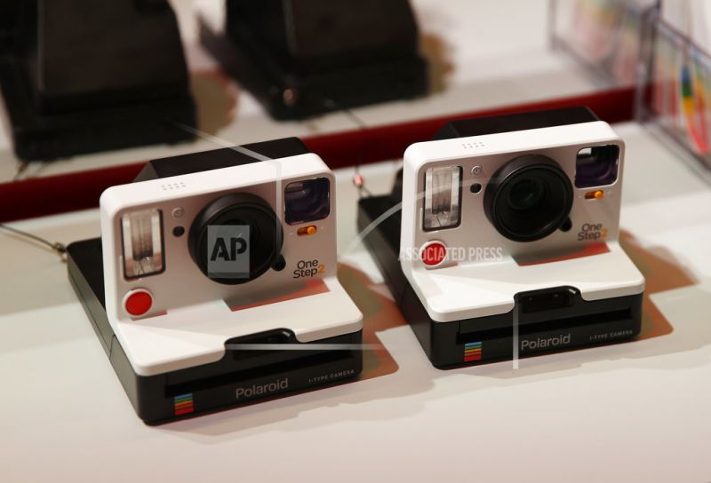 The Polaroid OneStep 2 camera is on display at the Polaroid booth in Las Vegas.